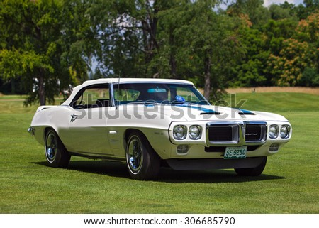 PLYMOUTH - JULY 26: A 1971 Pontiac Trans-Am on display July 26, 2015 at the Councors D'Elegance in Plymouth, Michigan. - stock photo