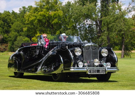 PLYMOUTH - JULY 26: A vintage Bentley on display July 26, 2015 at the Councors D'Elegance in Plymouth, Michigan. - stock photo
