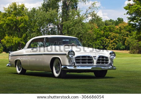 PLYMOUTH - JULY 26: A vintage Chrysler 300 on display July 26, 2015 at the Councors D'Elegance in Plymouth, Michigan. - stock photo