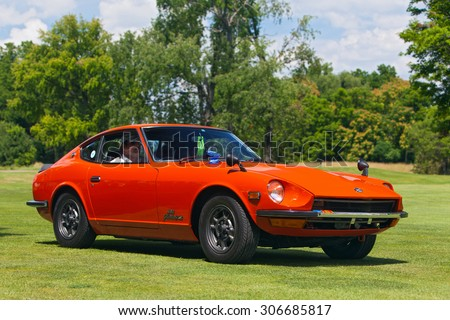 PLYMOUTH - JULY 26: A vintage Datsun Fairlady Z on display July 26, 2015 at the Councors D'Elegance in Plymouth, Michigan.