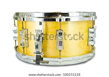 plywood snare drum isolated on white background - stock photo