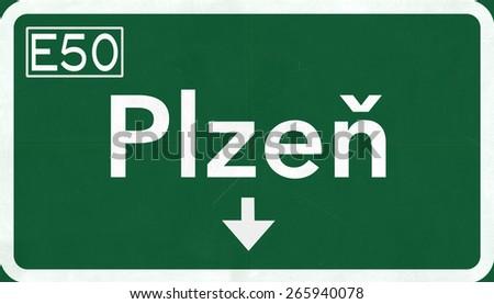 Plzen Czech Republic Highway Road Sign - stock photo