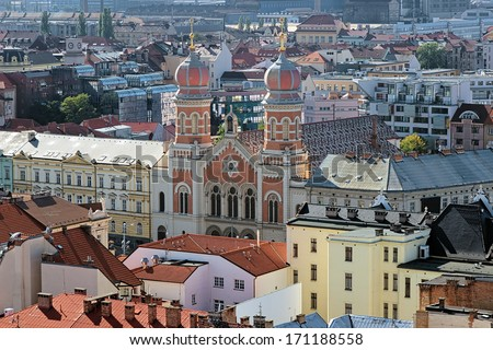 Plzen, View of the Great Synagogue from the Cathedral of St. Bartholomew, Czech Republic - stock photo