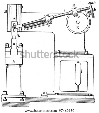 """pneumatic hammer - an illustration to the Article """"Power hammer"""" of the encyclopedia publishers Education, St. Petersburg, Russian Empire, 1896 - stock photo"""