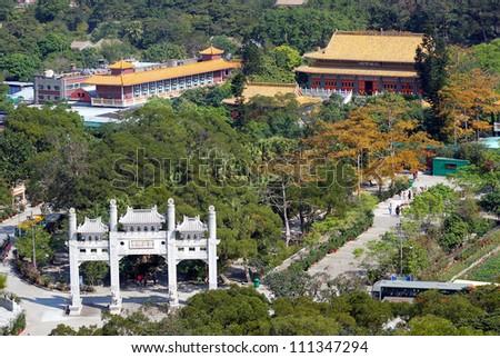 Po Lin Monastery, Lantau, Hongkong - stock photo
