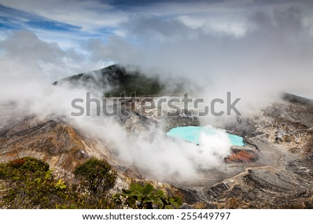 Poás volcano crater in costa rica