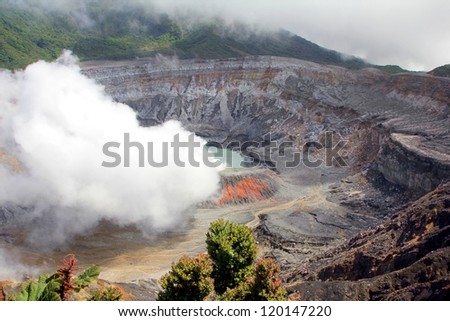 Poa Volcano smoking in Costa Rica - stock photo