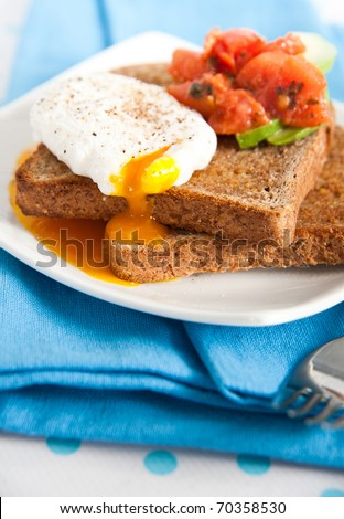Poached Egg and Avocado Slices on Whole Wheat Bread Toast - stock photo