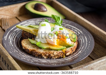 Poached egg and sliced avocado on toasted whole wheat bread on plate. Garnished with scallions and parsley. - stock photo