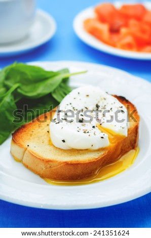 poached egg with spinach on a blue background. tinting. selective focus - stock photo