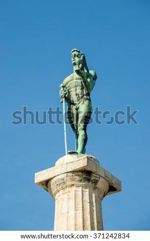 Pobednik Monument (The Victor Monument) in Belgrade Fortress in Serbia - stock photo