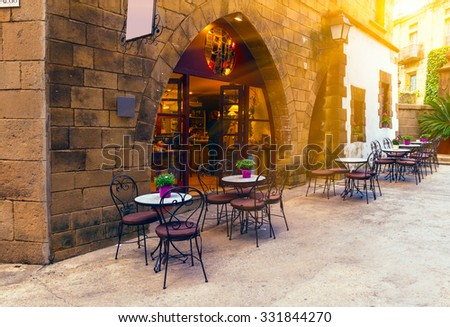 Poble Espanyol - traditional architectures in Barcelona, Spain - stock photo