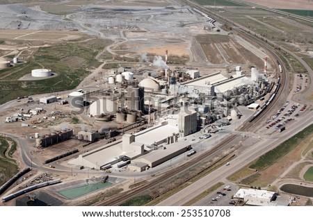 Pocatello, Idaho, USA May, 16, 2008 An aerial view of a fertilizer factory. - stock photo