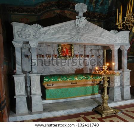 POCHAYIV, TERNOPIL, UKRAINE. - MAY 19: Church interior. Pochayiv Lavra Orthodox monastery. Reliquary St. Iova. May 19, 2007 in Pochayiv, Ternopil, Ukraine. - stock photo