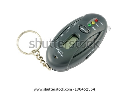 Pocket alcohol tester on a keychain. Isolated on white background with clipping path. - stock photo