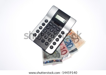 pocket calculator with euro banknotes - stock photo