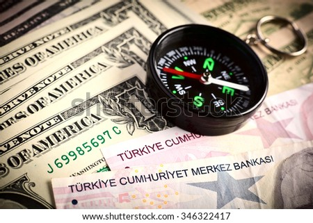 Pocket compass and turkish banknotes: concept of business planning