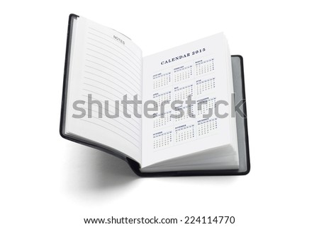 Pocket Diary With 2015 Calendar On White Background