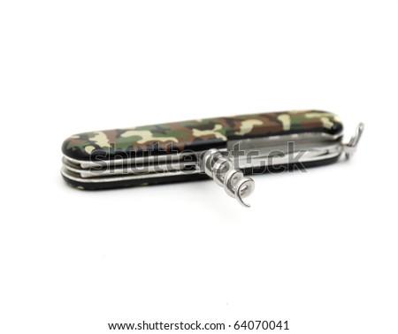 Pocket knife isolated on the white background - stock photo