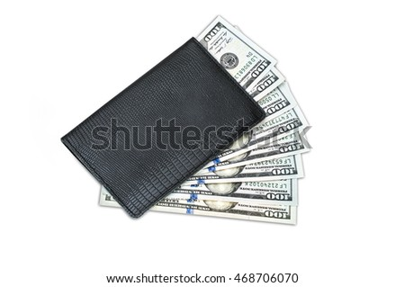 Pocket Money, The many dollars banknote in black leather purse. Isolate