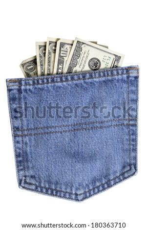 Pocket of American dollar bills in blue jean pocket isolated on white background - stock photo