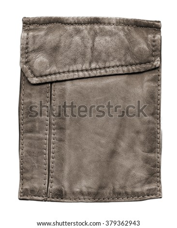 pocket of brown leather jacket isolated on white