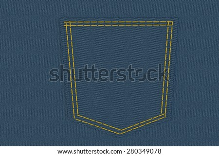 pocket of jeans in high resolution with yellow stitches - stock photo
