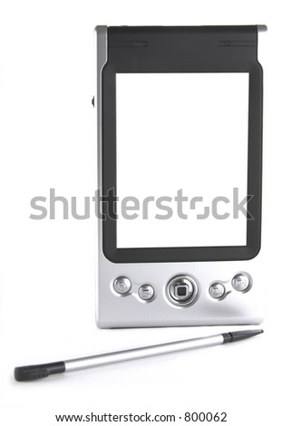 Pocket PC and mobile phone isolated over white background