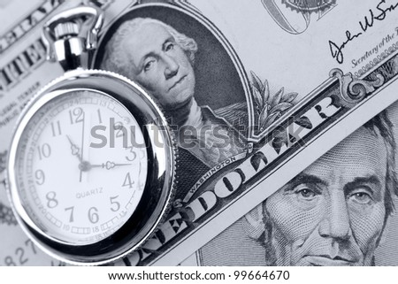 Pocket watch and banknotes. Time is money concept - stock photo