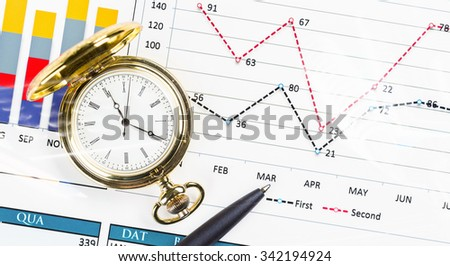 Pocket watch and business concepts on digital background