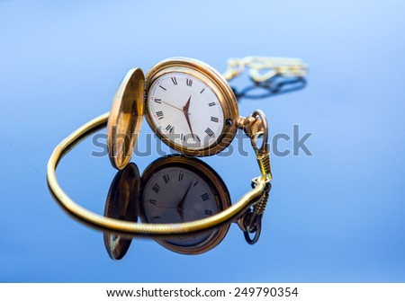 Pocket Watch Antique Golden - stock photo