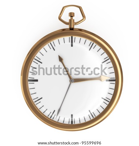 pocket watch isolated on white background. 3d rendered image