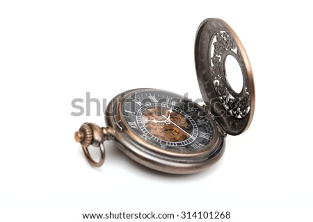 pocket watch on the white background - stock photo