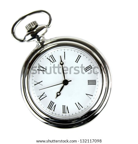Pocket watch on white background. - stock photo