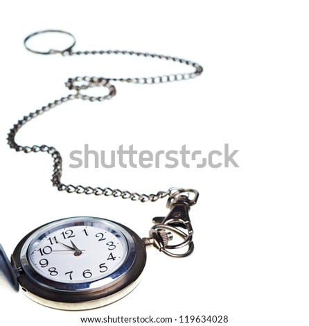 Pocket watch with chain isolated on white