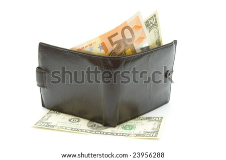 Pocketbook with currency on white background