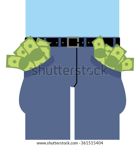 Pockets many money. Jeans full of cash. Rich man in pants. Dollars are not placed in clothes. Banknotes out of pants. - stock photo