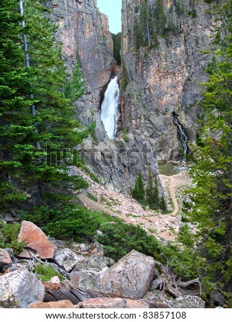 Pocrupine Falls seen through the Bighorn National Forest of Wyoming