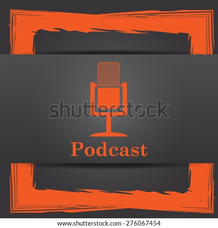Podcast icon. Internet button on grey background.