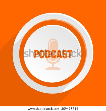podcast orange flat design modern icon for web and mobile app - stock photo