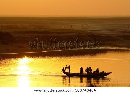 Podda river sunset, Bangladesh - stock photo