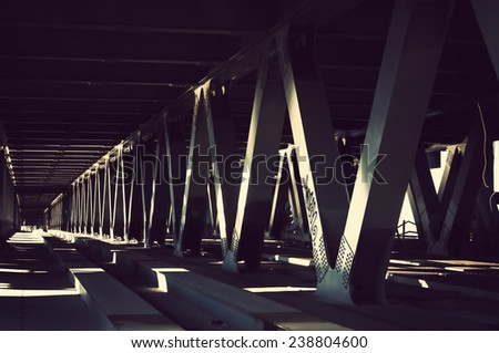 Podil's'ko-Voskresens'kyi bridge detail, Kyiv, Ukraine - stock photo