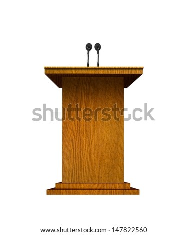 Podium and microphones over white - stock photo