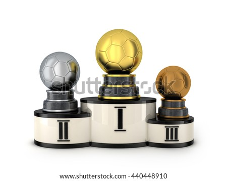 Podium and three award football (done in 3d rendering)