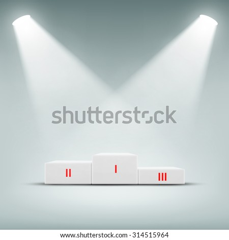 Podium for winner illuminated spotlights. Stock image. - stock photo