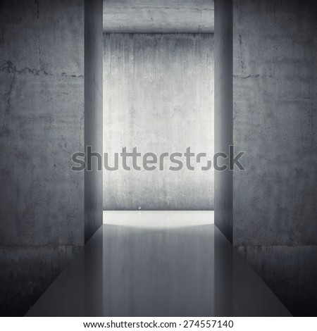 Podium in interior with concrete walls - stock photo