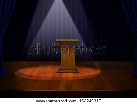 Podium on Stage with Projector Lights
