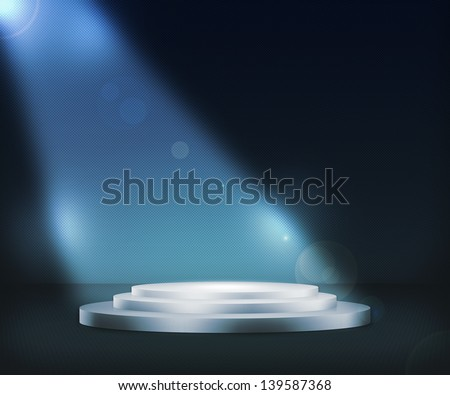 Podium Spotlight Blue Background