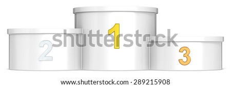 Podium. White podium. Gold, silver, bronze. Empty for copy space. - stock photo