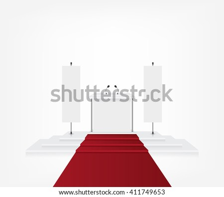 Podium with red carpet for award ceremony and flag banner